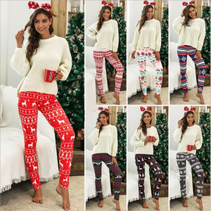 Leggings Weihnachtsschneeflo Strumpfhosen Elk Druck Jeggings Weihnachten Gelegenheits Home Pants Reindeer Bootcut Stretchy Hosen Hot Strümpfe Hosen C6582