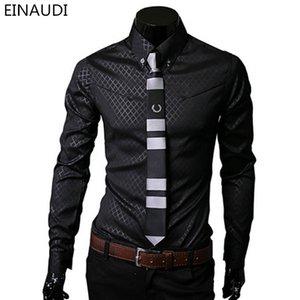 EINAUDI Männer karierte Hemden Brand New Mens Dress Shirts Langarm dünne beiläufige Schwarz Weiß Sozial Männlich Kleidung Che mise Homme