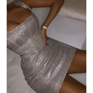 Plata brillante chándales club de las mujeres atractivas 2 piezas Vestidos Delgado Sling color sólido Bodycon vestidos de la moda para mujer chándales