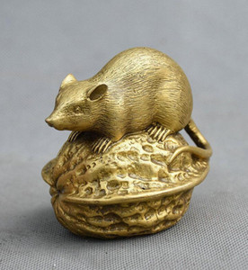 Coopper statua cinese Feng shui Pure Brass fortunato zodiacale mouse Animal On noce Statua