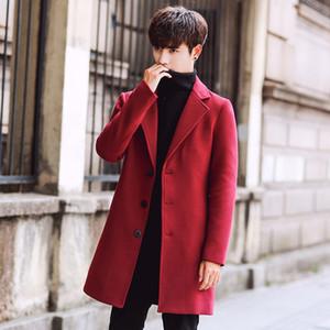 Veste longue coréenne Hommes d'hiver Trench Slim Fit Automne Outwear Plus Size 5XL Woollen Manteau Trench
