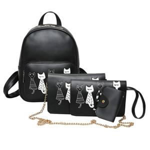 Bolsas 4pcs / Set Backpack Mulheres Cat Impressão PU Leather Mochilas estudantes escola para meninas Adolescentes Mochila Feminina Sac a Dos