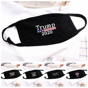 18styles Trump visage Masque Coton Trump Masques 2020 Tissu anti-poussière Masque Homme Femme Mode unisexe hiver chaud Masques drapeau noir US GGA3546-8