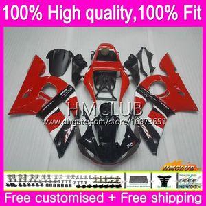 YAMAHA YZF R6 R6 YZF600 YZF 600 YZF600 80HM.4 YZFR6 YZFR6 98 99 00 01 02 1998 1999 2000 2001 2002 OEM Kırmızı siyah kaporta için Enjeksiyon