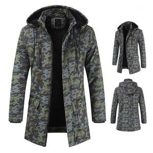 Capucha gruesa de la cremallera chaquetas para hombre de moda abrigos para hombre del diseñador abrigos de invierno casual camuflaje Impreso Manga larga