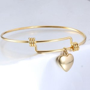 Stainless Steel DIY Heart Charm Bracelets & B 50-65mm Jewelry Finding Supplies Expandable Adjustable Wire Bangle Wholesale