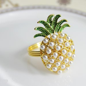 qn19012102 free shipping gold silver pineapple with pearls napkin ring wedding holiday decoration , cheap napkin holder 24 pcs