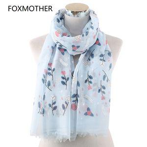 FOXMOTHER New Spring Floral Scarfs Femme Rose Echarpes Foulards Ciel Bleu Couleur Blanc Fleur Echarpes Femmes Mode 2019