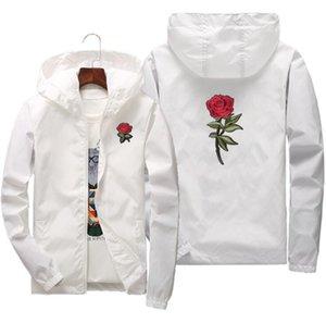 Роза куртка ветровка Мужчины Женщины Jaqueta Masculina Polyester Zipper весна осень колледж куртки Бесплатная доставка