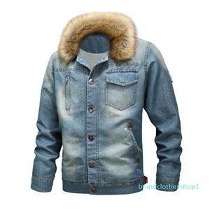 mens designer Season hooded plus velvet thickened large fur collar denim coat large size casual jacket coat