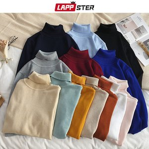 LAPPSTER Hommes coréenne Solid Turtleneck Sweater 2019 Couple Pull d'hiver Pull de Noël Pull vêtements colorés femmes MX191214