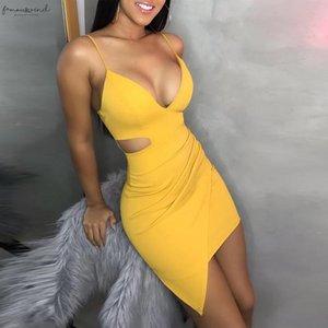 Pure Color Dress Women Summer 2020 Sleeveless Deep V Tight Fitting Camisole Buttock Casual Summer Dress Spring Sukienka Vestidos G9