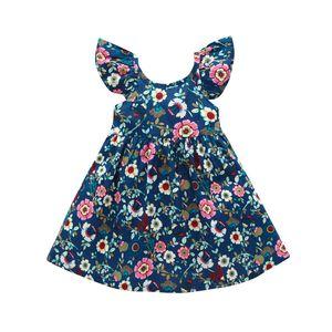 Mädchen Blumenkleid Kinder Ruffle Riemen-Kleid-Baby-Kleid-Kleinkind-Strand A-Linie Kleider verstellbarer Schultergurt 1-6T 060618