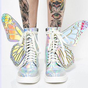 Fashion Wing Ankle Boots Damen Round Toe Schnürschuhe Bling Butterfly Wings Flache Stiefel Damen Sweet Cool Martin Boots