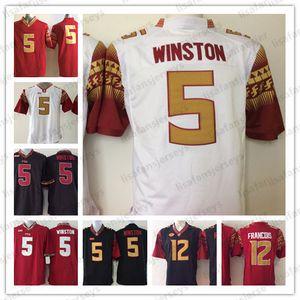 5 Jameis Winston 12 Deondre François NCAA Mens Florida Estado Seminoles Jerseys All Costurado College Football Jerseys High School Universidade