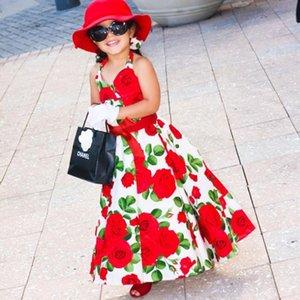 Kleider für Kinder mit V-Ausschnitt Halter-Kleid-Mädchen-Prinzessin Sleeveless langen Kleid Mädchen Sommer Red Cotton Mädchen Rosen-Blumen-Halter-Kleid-Strand-Rock