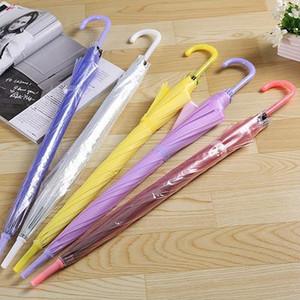 Прозрачные и Матовый Прозрачный зонтик прямой автоматический зонтик Красочные большие ручки зонтика Customized Вход 25шт