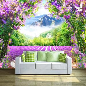 Muro Estilo Dropship Photo Wallpaper 3D Lavender Flower Vine Arch Natureza Cenário Mural Pastoral Pintura casamento Casa Decor