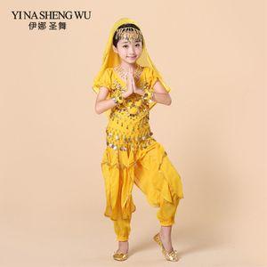 Children  Belly Dance Costumes 5pcs Set (Top+Pant+Waist chain+Bracelet+Headdress) Kids Belly Dance Bollywood Clothing H011