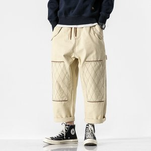 Hip Hop Hombres Calle ocasionales flojas Pantalón cargo Masculino Japón de moda de la vendimia de la pierna ancha pantalones Harem Pant