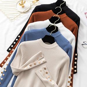 casual autunno inverno donna maglione spesso pullover manica lunga abbottonatura o-collo chic maglione femminile maglione maglia top morbido maglione top