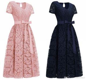 2020 새로운 저렴한 부르고뉴 레이스 디자이너 칵테일 파티 드레스 반팔 V 넥 띠 차 길이는 공식적인 저녁 착용 CPS1153을 여자