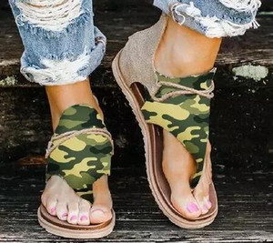 New color camo print sandal toe knot double-buckle leopard women sandal antiskid flat shoes snakeskin print lady flip flop shoes