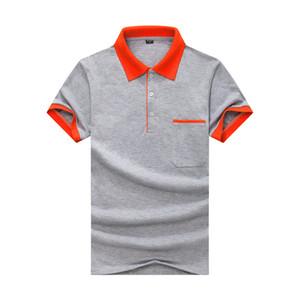 Perlées contraste avec Pocket Slim Lapel Polo manches courtes gris été orthographié T-shirt JH-015-022 d'orange