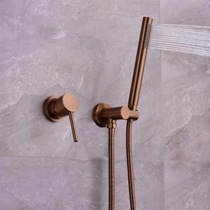 MTTUZK Brushed Rose Gold verborgen Wand mit der Hand Hahn Brausegarnitur aus gebürstetem Gold Bad Brausemischer eingebettet