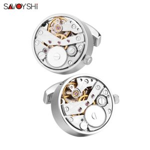 SAVOYSHI Mechanical Watch Movement Cufflinks for Mens Shirt Cuff Functional Watch Mechanism Cuff Links Designer Brand Jewelry CJ191116