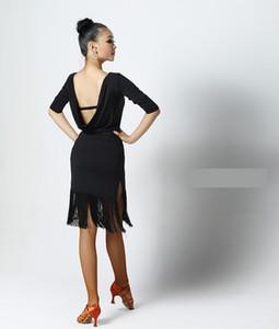 Noir Rouge Adulte / Filles Latin Dance Salsa Tango Chacha Salle de bal Concours pratique la danse Robe sexy dos nu robe à manches longues Tassel