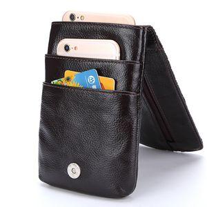 Men  Real Genuine Leather Waist Pack Bag Mini Cell/Mobile Phone Pockets Case Coin Purse Fanny Money Bags Vintage Waist Bag