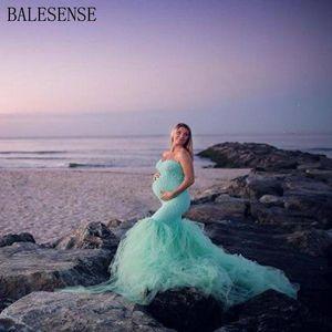 Maternité Photographie Props sans épaules Robes dentelle maille robe grossesse Séance photo Maxi robe vêtements pour les femmes enceintes
