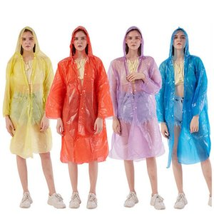 Capa Impermeable ropa impermeable al aire libre unisex de los viajes de camping lluvia caliente desechable Impermeable emergencia adulto de la manera de la capilla hebilla HHA1290