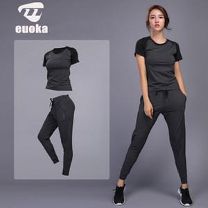 2019 kadın spor Yoga Setleri Koşu Giysileri Spor Salonu Egzersiz Fitness Eğitim Yoga Spor T-Shirt + Pantolon Koşu Giyim Suit