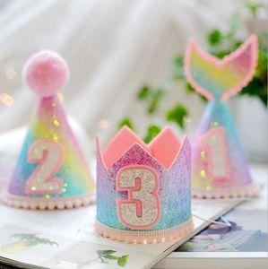 Gökkuşağı Gradyan Mermaid 1 Yıl Doğum Hat Kız Bebek Doğum Günü Partisi Dekorasyon Hat Bebek Partisi Prenses Taç Şapka Malzemeleri