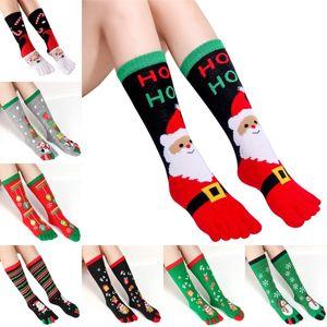 Calza della Befana Autunno Inverno lungo mag assorbenti Toe calzini caldi di Natale unisex Stampa multicolore Toe Socks Five Finger calzino Cotone calzino