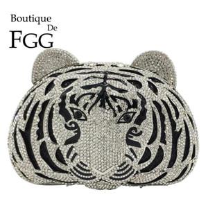 بوتيك دي FG Tiger Face Women Silver Crystal Clutch Bags Evening Party Rhinestone Handbags Ladies Dinner