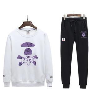 Новые костюмы для женщин людей верхнего качества Белых Черного свитер с черными брюками Моды спортивных костюмы свитер + Pant Set Running B104511V