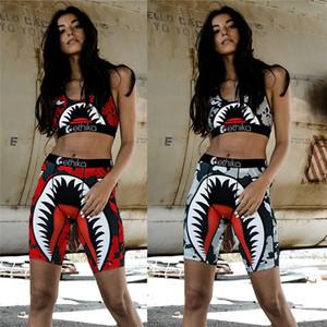 Femmes Bathing Costumes Maillots de bain Été Bra + Short Swing Shorts Trunks 2 Morceau Set Suitesuit Patchwork Shark Shakwear Sexy Bikini C61711
