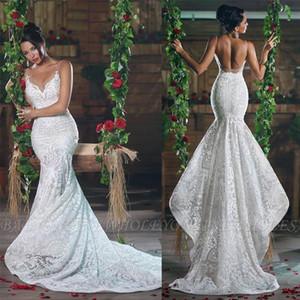 2020 полный кружева Русалка спагетти ремень свадебные платья Sexy Open Back Sheer новый развертки поезд свадебные платья на заказ BC2699