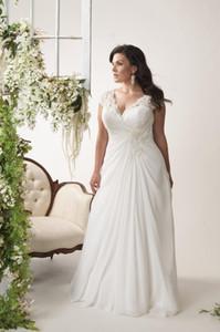 V - 목 아플리케 레이스 웨딩 드레스 2020 겸손한 반팔 쉬폰 스커트 내기 셔링 신부 가운 사용자 정의 온라인 로브 드 Mariee