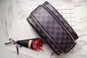 Leather MakeupBags Men Fashion Double Zipper HandBags Women Clutch MICHAEL V0 KOR Wallet Tote Purse Sac