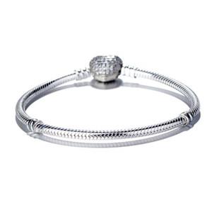 Женщины роскошная мода 925 щепка покрытием любовь Сердце CZ Алмаз ручной цепи браслет для Пандоры змея цепи браслет w75