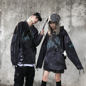 Mens Hoodies Fashion New Mens Pullover Hooded Streetwear Hip Hop Loose Streetwear Sweater European and American Style Hole Hoodie Size M-2XL
