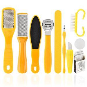 10 em 1 Pé Scrubber Professional Pedicure Tools File Kit Rasp Pé Callu Remover Set pés esfoliante purificador Cleaner F3850