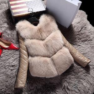 Kış Sıcak Sahte Kürk Dış Giyim Zarif Palto İnce Kürk Ceketler Artı Boyutu 3XL 2019 Yeni Kadın Deri Uzun Kollu Faux Coat