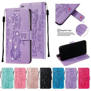 Diamond Bling Wallet Funda de cuero para Samsung Galaxy NOTE 10 PRO A90 A60 A20 A40 A50 A70 A20E S9 PLUS S10 S10E Funda de piel de gato de dibujos animados