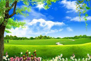 schöne Landschaft wallpaper Blauer Himmel, weiße Wolken, großer Baum, Landschaft, Hintergrund, Wand