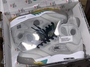 NIKE Jordan Off Meilleure qualité High 5 OW Jaune Hommes Grayish Chaussures de basket réfléchissantes 5s V Sport Chaussures Blanc CT8480-105 Taille US7-11